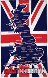 Tea Towel Great Britain Map Pk 12