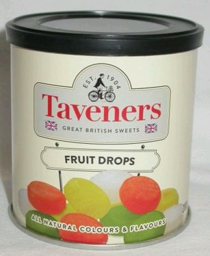 Taveners Tins Mixed Fruit Drops 12 x 200g